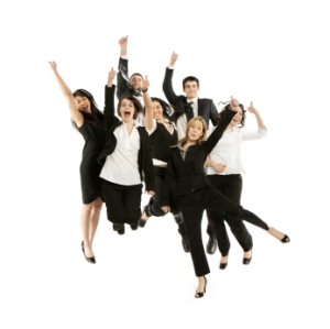 Business people jumping in the air