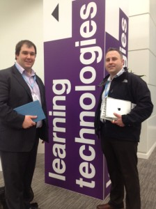 Gavin Woods and Barry Kelly from Aurion Learning at Learning Technologies 2013 exhibition, Olympia 2 London.